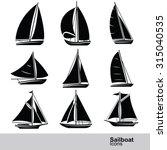 sailboat silhouette icon set ... | Shutterstock .eps vector #315040535