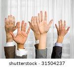 Close Up Of Several Human Hand...