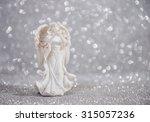 Christmas Angel On Blur Silver...