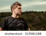 young man standing outside ... | Shutterstock . vector #315081188