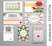 set of loyalty cards. floral... | Shutterstock .eps vector #315110726