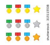 awards pixel icons set. old...   Shutterstock .eps vector #315115538