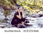 young asian woman hiker by the... | Shutterstock . vector #315151466