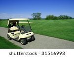 Golf Cart On Golf Path