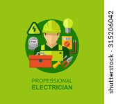 professional electrician with... | Shutterstock .eps vector #315206042