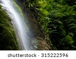 Waterfall In Nature Forest Wit...
