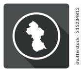 guyana map dark sign icon....