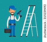 repairman standing near stairs... | Shutterstock .eps vector #315239492