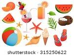 set  summer  summer vacation ... | Shutterstock .eps vector #315250622