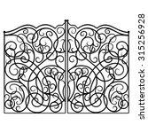 Decorative Black Gate. Vector...