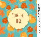 autumn seamless pattern with...   Shutterstock .eps vector #315274298