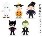 five halloween kids with... | Shutterstock .eps vector #315313472