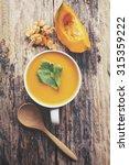 pumpkin soup   Shutterstock . vector #315359222