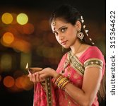 Indian Girl In Traditional Sar...