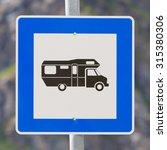 camper sign in europe  blue...