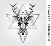 deer head tribal pattern.... | Shutterstock .eps vector #315399785