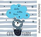 Cute Teddy Bear With Cloud...
