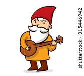 hand drawn garden gnome playing ... | Shutterstock .eps vector #315446942