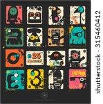 set of retro postage s stamp... | Shutterstock .eps vector #315460412
