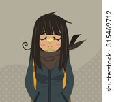 cartoon sad girl mascot. the...