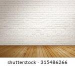 Empty Brick Room With Wooden...