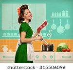 Retro Smiling Woman Cooking An...