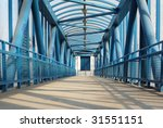 Blue Footbridge With...