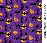 halloween  cats pattern | Shutterstock .eps vector #315519422