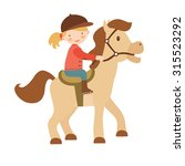 cute little girl riding a horse.... | Shutterstock .eps vector #315523292
