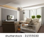 interior of modern living room. ... | Shutterstock . vector #31555030
