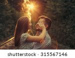 happy moments of young couple... | Shutterstock . vector #315567146