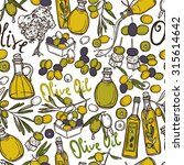 olive seamless pattern with oil ... | Shutterstock . vector #315614642