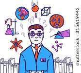 scientist sketch concept with... | Shutterstock . vector #315619442