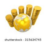gold coins currency around a... | Shutterstock . vector #315634745