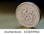 Single British Pound Coin With...