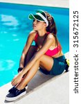 sports woman resting and... | Shutterstock . vector #315672125