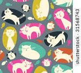 seamless  pattern with cartoon... | Shutterstock .eps vector #31568743