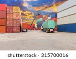 forklift at dockyard with... | Shutterstock . vector #315700016