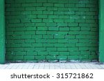 Brick Wall Painted With Green ...