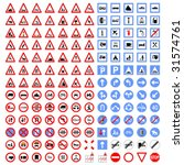 big collection of traffic signs | Shutterstock .eps vector #31574761
