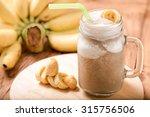 Banana Juice In Mug Glass On...