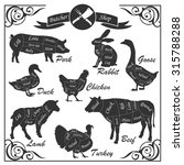 set of animal cuts for butcher... | Shutterstock .eps vector #315788288