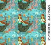 mermaid pattern. the vector...