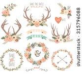 vintage floral antlers...   Shutterstock .eps vector #315796088
