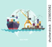 cargo seaport with ship and... | Shutterstock .eps vector #315805082
