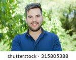 happy young casual man outdoor... | Shutterstock . vector #315805388