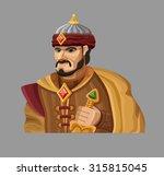 cartoon sultan in gold. vector... | Shutterstock .eps vector #315815045
