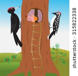 cartoon woodpeckers on a hollow ... | Shutterstock .eps vector #315822338