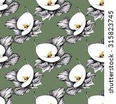 black and white calla lilly... | Shutterstock . vector #315823745