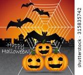 happy halloween greeting card.... | Shutterstock .eps vector #315835742